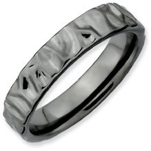 Youthful Sense Silver Stackable Black Ring. Sizes 5-10 Available