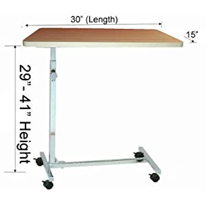 MedMobile Adjustable Height Non-Tilt Hospital Overbed Table / Labtop Table with 4 Locking Castors,