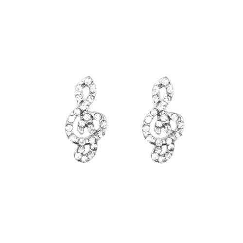 Gilrs & Lady 10Mm Silver Plated Music Note Shape With Clear Crystal Earrings Cz Hip Hop