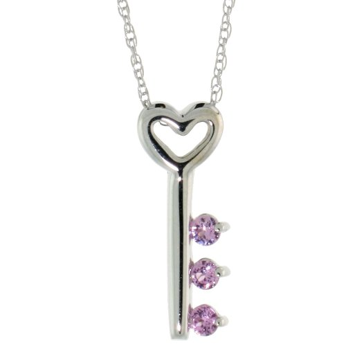10k White Gold 18 in. Thin Chain & 5/8 in. (16mm) tall Key To My Heart Pendant w/ Brilliant Cut Pink Sapphire Stones