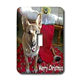 Sandy Mertens Christmas Dog Designs - Christmas German Shepherd - Light Switch Covers - single toggle switch ~ 3dRose
