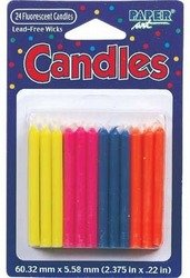 DDI - Birthday Candles Fluors 24Ct (1 pack of 12 items) - 1
