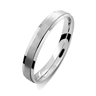 Helios Bijoux Men and Women Wedding Band 3 mm White Gold 18 Carats of new certificate Size J Authenticity-Made in France