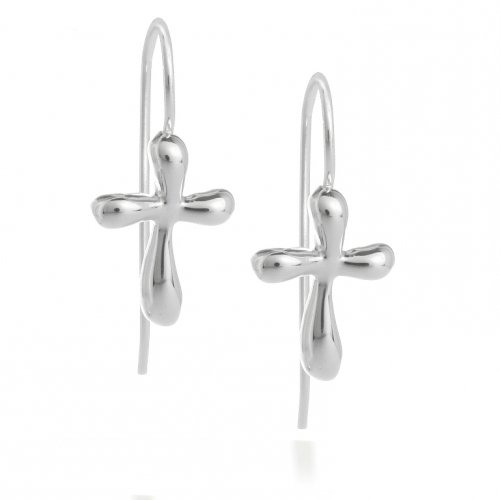 Christmas Gifts Bling Jewelry Eternal Cross French Wire Sterling Silver Earrings