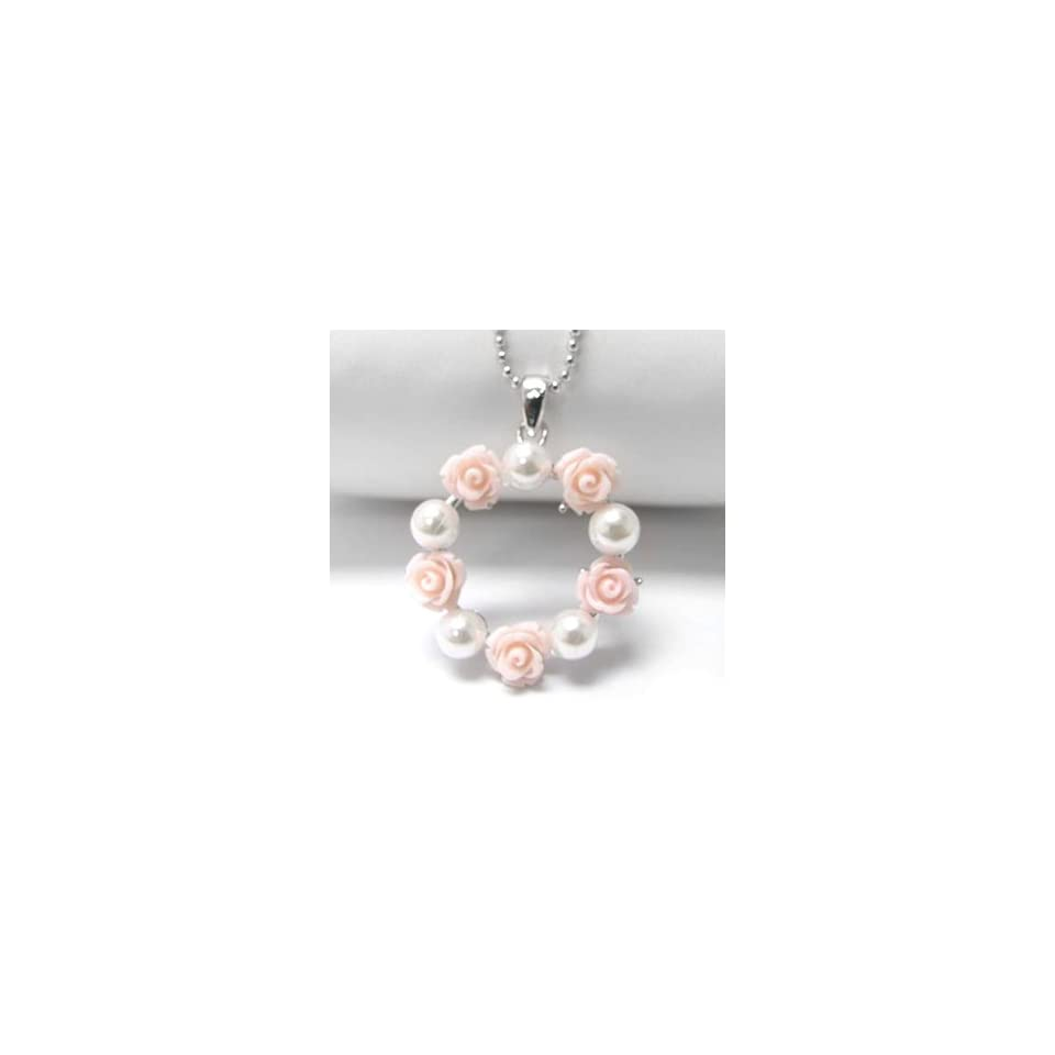 Pink Rose and Pearl Wreath Pendant White Gold Plated Necklace 16