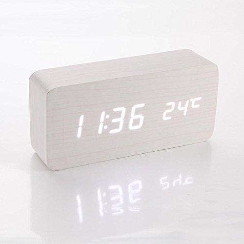 White New Modern Wooden Wood Usb/Aaa Digital Blue Led Alarm Clock Calendar Thermometer