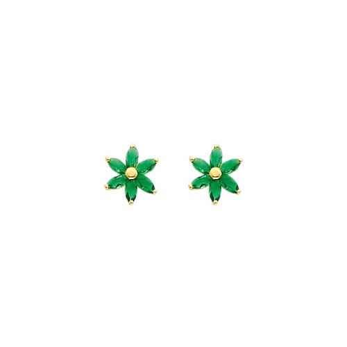 14K Yellow Gold Green Flower CZ Stud Earrings with Screw-back for Children