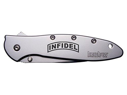 Banner Infidel Engraved Kershaw Leek 1660 Ken Onion Design Folding Speedsafe Pocket Knife By Ndz Performance