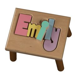 Personalized Primary Puzzle Step Stool-1-8 letters - Color: Natural