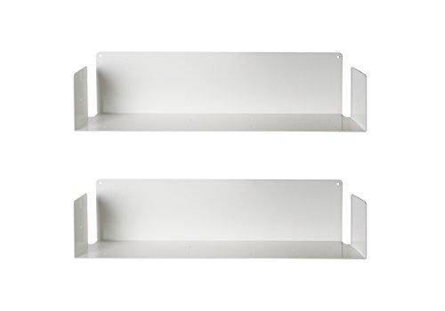 MENSOLA DESIGN a MURO - SET di 2 - ACCIAIO - BIANCO - 60 cm, D 15 cm, H 15 cm