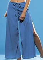 FREYA BY FOOTPRINTS BLUE/ONYX COTTON WRAP BEACH/LOUNGE PANTS/TROUSERS (M)