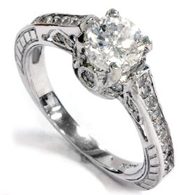 1.20CT Diamond Engagement Ring Vintage Engraved Ring