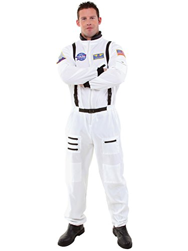 Mens Astronaut Costume White Jumpsuit with Detailed Embroidered Patches