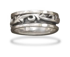 Sterling Silver Oxidized Spin Ring with Scroll Design / Size 9