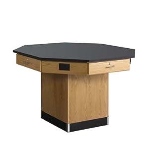 "60"" Wide Pedestal Base Octagon Workstation Top Type: Flat top"