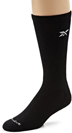Reebok Men's 6 Pair Cotton Crew Sock, Black, Shoe Size 7-12