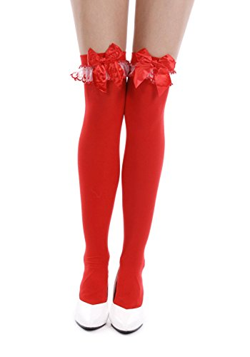 Women's Satin Bow and Ruffled Lace Thigh High Stockings