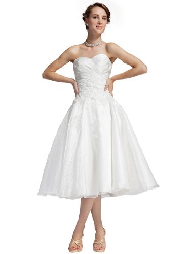 Topwedding Strapless Tea Length Organza over Satin Wedding Dress with Applique