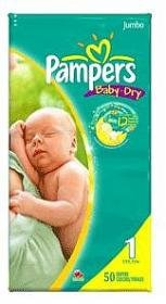 PAMPERS BABY-DRY SIZE 1 JUMBO 2X50