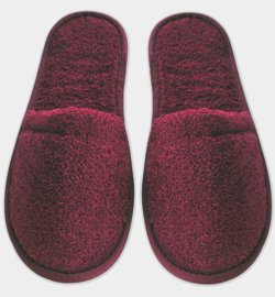 Terry Cotton Slippers - Made in Turkey (L/XL (US 9.5 - +), Burgundy)