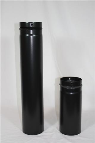 Rauchrohr, Ofenrohr Pellet-Rohr 0,15m schwarz-matt 100 ø 0,6mm stark