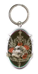"Top Heavy - Bronze Ornate Dagger Skull Tribal Design No Regrets Die-Cut Enameled Metal Portachiavi Keychain - 1.5"" x 3.5"""