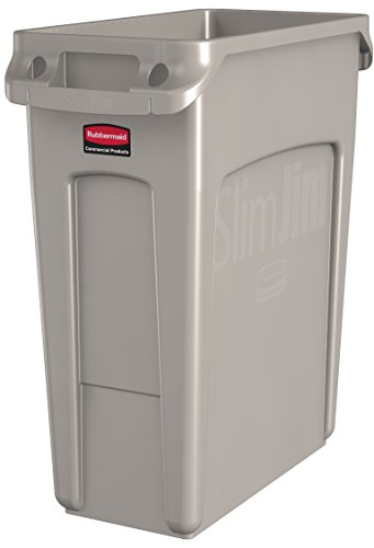 Rubbermaid Commercial Vented Slim Jim Trash Can Waste Receptacle, 16 Gallon, Beige, Plastic, 1971259 (Big Kitchen Trash Can compare prices)
