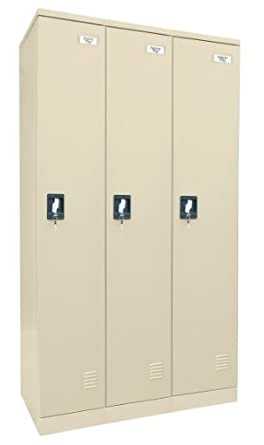 "Sandusky Lee KDCL7236/3-07 Putty Powder Coat Paint Steel SnapIt Full Length Locker, 72"" Height x 36"" Width x 18"" Depth, 3 Lockers Wide"