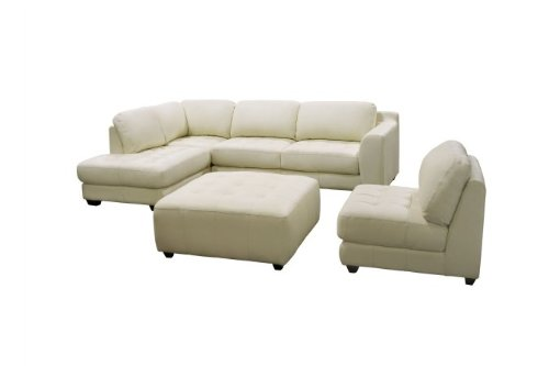 Diamond Sofa ZENLF3PCSECTOTTOE Zen Collection Left Facing Chaise 2PC Sectional with Armless Chair and Square Cocktail Ottoman by Diamond Sofa - Eggshell