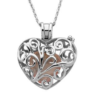 """Sterling Silver Filigree Always in My Heart Locket Necklace with 18"""" Chain"""