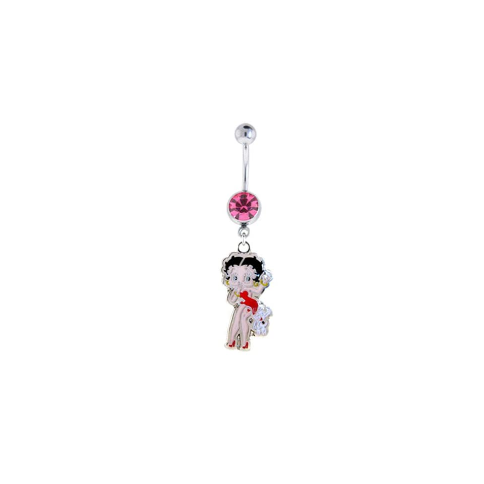 Piercing Jewelry Pink Gem Belly Navel Dangle Betty with Pudgy the Dog