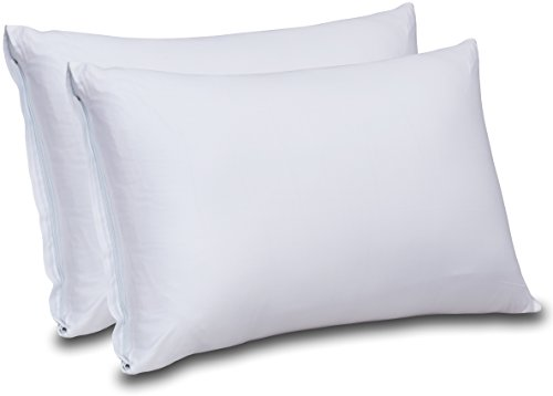 Cotton Sateen Zippered Pillow Cases – 2 Pack (Queen, White) – Sateen Pillow Cover for Maximum Softness – Easy Care, Elegant Double Hemmed Stitched Pillow Encasement, 300 Thread Count by Utopia Bedding
