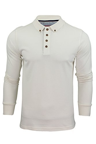 Polo Da Uomo T-Camicia by Brave Soul 'Lincoln' Piqué Maniche Lunghe (Ecru) XL