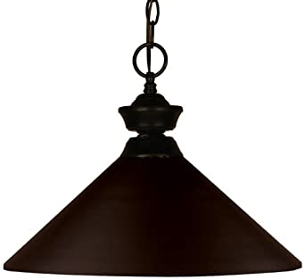 Z-Lite 100701BRZ-MBRZ Shooter One Light Pendant, Steel Frame, Bronze Finish and Bronze Shade of Metal Material