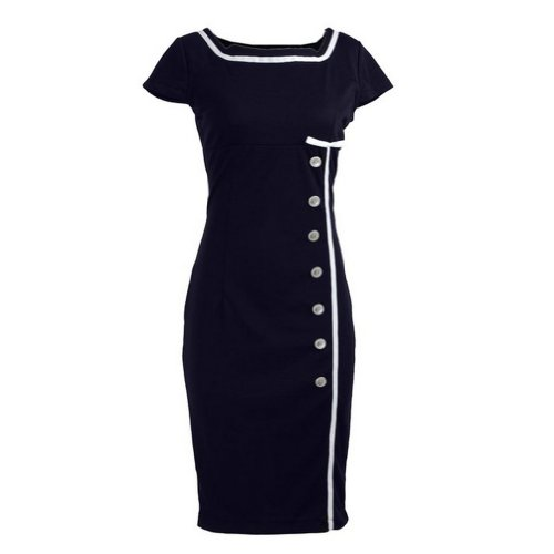 Navy Blue Nautical Sailor Rockabilly Vintage Pinup Retro Pencil Women's Dress - Medium