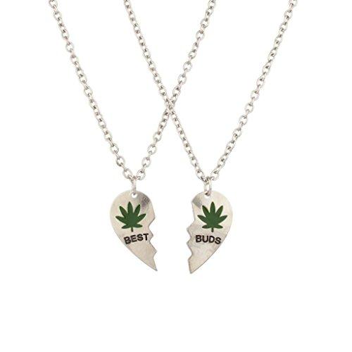 Lux accessori Best Buds BFF Best Friends Cuore San Valentino Forever, Foglia di Marijuana collane (2pc).