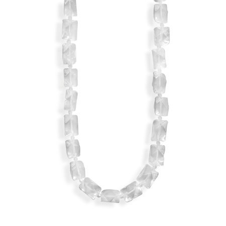 Clear Beveled Glass Bead Necklace - Made in the USA