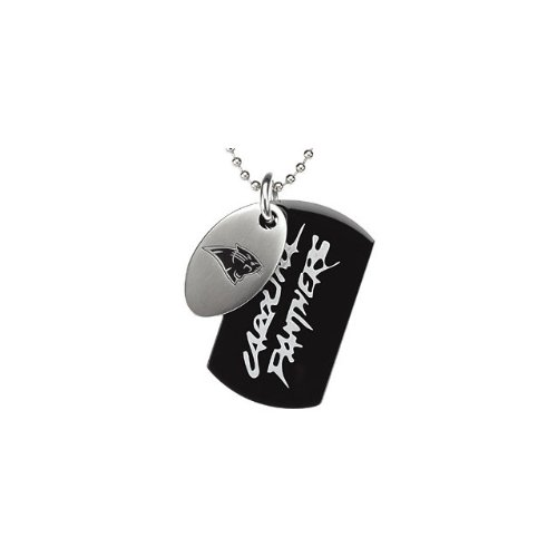 St Steel 45mm Carolina Panthers NFL Football Team Jewelry Men 2 Dog Tag W/Chain