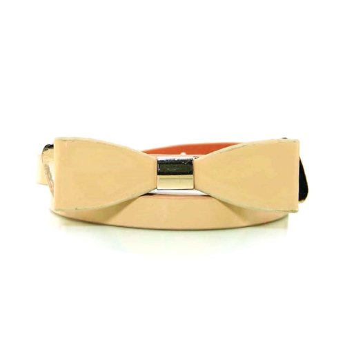 """1/2"""" Women'S Fashion Golden Centered Bow Tie With Quality Beige Leatherette B..."""