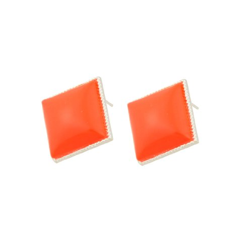 Rosallini Pair Glittery Rim Orange Red Plastic Earbob Pierced Earrings for Ladies