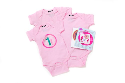 Pink - Belly Banter Baby Body Suit 3 Pack and 15 Stickers - Watch Me Grow Newborn Baby Gift Set - Cute Baby Bodysuit Gift Pack For Baby Girls - Perfect Baby Bodysuits Baby Shower Gift Set +15 BONUS Stickers For Baby Photo Journals
