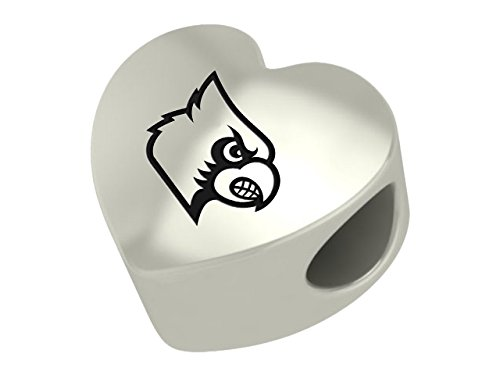 Louisville Cardinals Sterling Silver Heart Bead Fits Most European Style Charm Bracelets