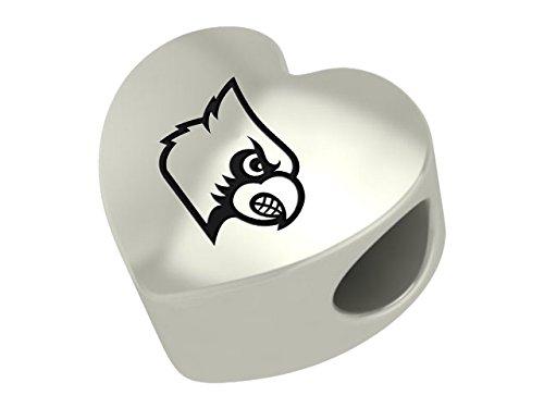Louisville Cardinals Sterling Silver Heart Bead Fits Most European Style Charm Bracelets