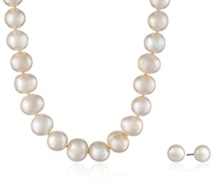 Sterling Silver Freshwater Cultured Pearl Necklace and Earrings Set (10-11mm), 18""