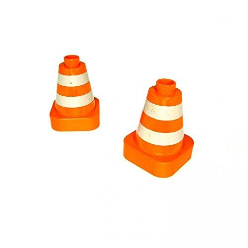 2 x Lego Duplo Pylone orange weiß gestreift
