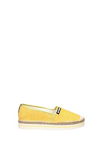 espadrillas donna Love Moschino JA10113 tessuto glitterato giallo gomma e rafia 36