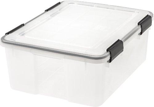 IRIS 30-Quart Weathertight Storage Box, Clear (Dvd Storage Boxes With Lids compare prices)