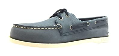 Size 5 Boy's A/o Sperry Navy Blue Lace Up Leather Boat Shoes