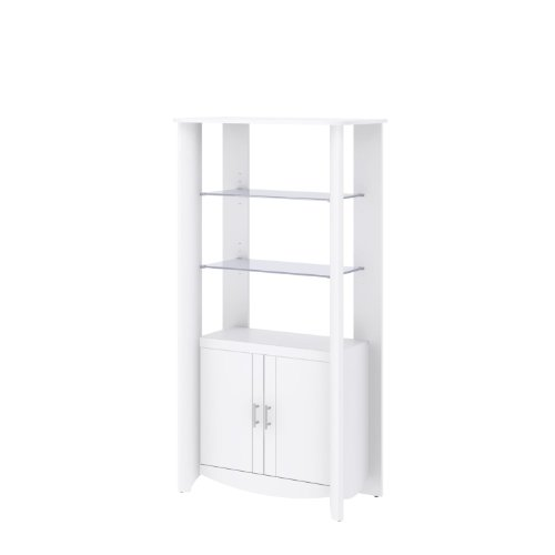 Bush Furniture Aero 2 Door Tall Library Storage (Cabinet With Glass Doors White compare prices)