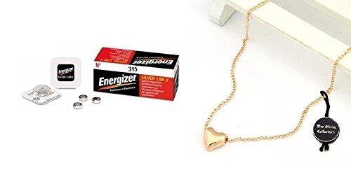 Energizer 315 SR716SW 0% di mercurio ossido di argento pila a bottone - Confezione da 10 pezzi + collana ciondolo TOC FJ1439
